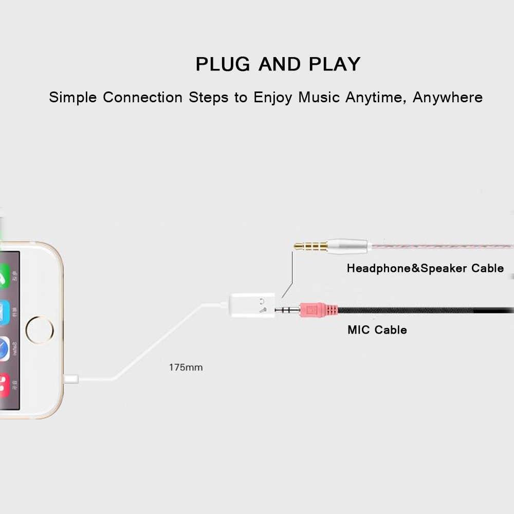 Di alta Qualità di Dati Audio Stereo Maschio a 2 Femmina 3.5 millimetri Auricolare Con Microfono Auricolare e Microfono Y Splitter Cavo Adattatore