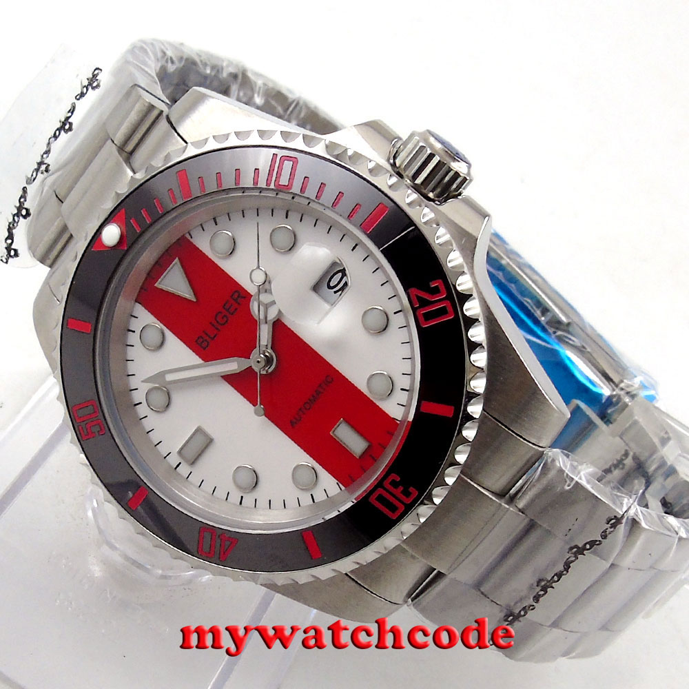 40mm Bliger white red dial sapphire glass automatic movement mens watch P121