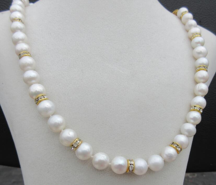 real photos elegant south sea 10-9mm white pearl necklace 18inch real photos elegant south sea 10-9mm white pearl necklace 18inch
