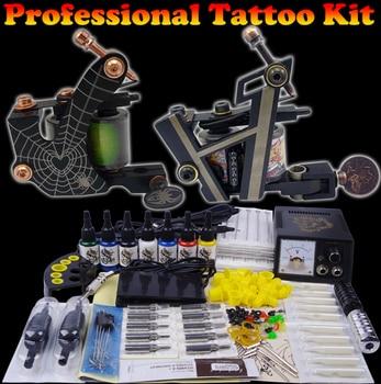 permanent makeup tattoo kit cosmetic piercing tool kit complete tattoo machine set 2 guns