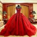 Роскошная вышивка бусины съемная поезд свадебные платья без бретелек красный бальное платье свадебные платья 2015