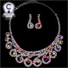 HanCheng New Luxury Bridal Jewelry Rhinestone Created Crystal Pendant Necklace Wedding Sets Silver Plated Alloy Jewelry Parures(China)