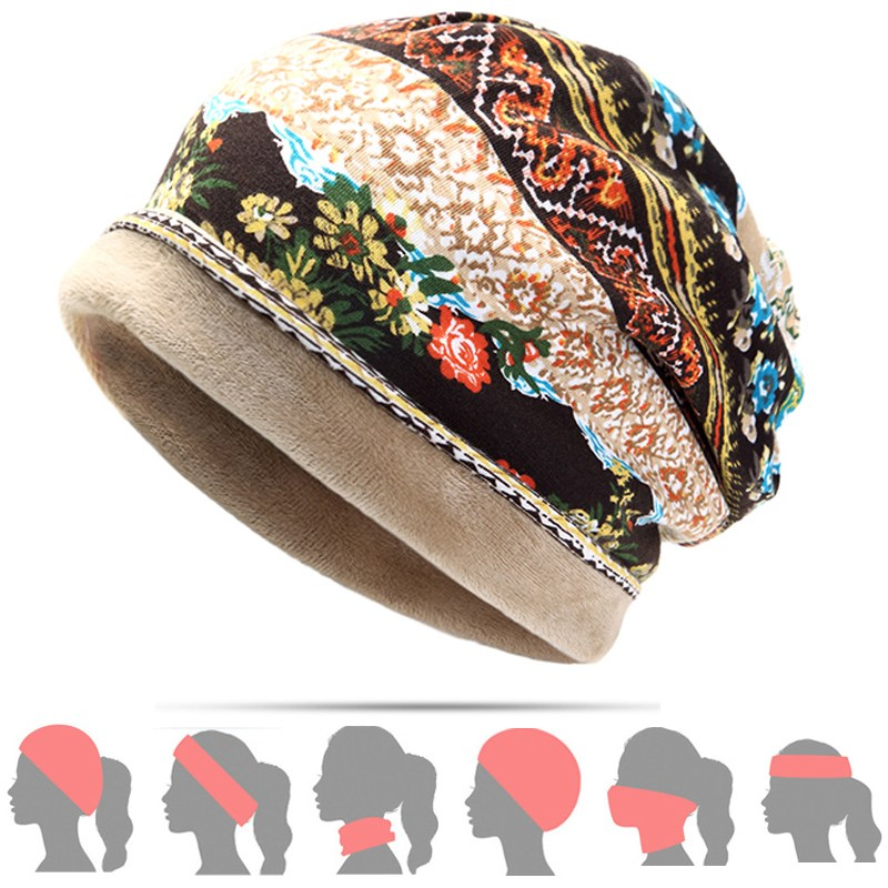 Women Cotton Print Flower Ponytail   Beanie   Hat For Turban/Hairband/Scarf, Winter Thick Warm Casual Bonnet Vintage Crochet Slouchy