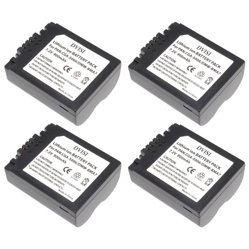 4Pcs/lot 900mAh CGA-S006 CGR CGA S006E S006 S006A DMW-BMA7 DMW BMA7 Battery for Panasonic DMC FZ7 FZ8 FZ18 FZ28 FZ30 FZ35 FZ38