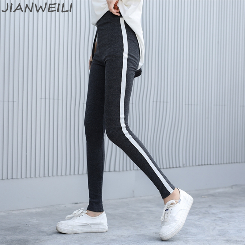JIANWEILI   Leggings   Women Winter Thick Pants Leggins Warm 95%Cotton Striped Gothic Fitness High Waist   Leggings   Harajuku Trousers