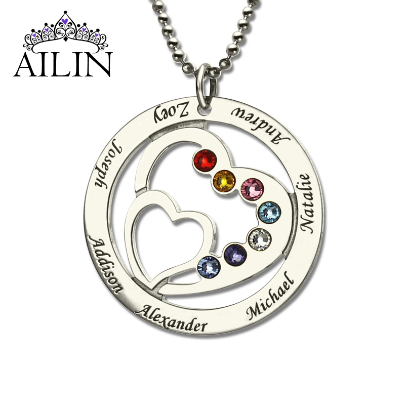 Wholesale Heart in Heart Birthstone Family Name Necklace Personalized Mother Necklace Silver Birthstone Necklace Christmas Gift