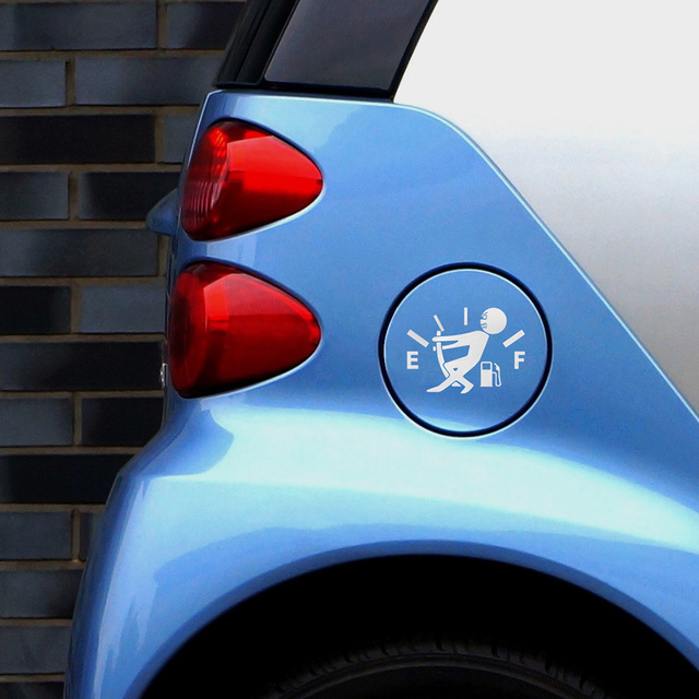 1 Pcs Funny Car Sticker Pull Fuel Tank Pointer To Full Hellaflush Reflective Vinyl Car Sticker Decal Wholesale 5