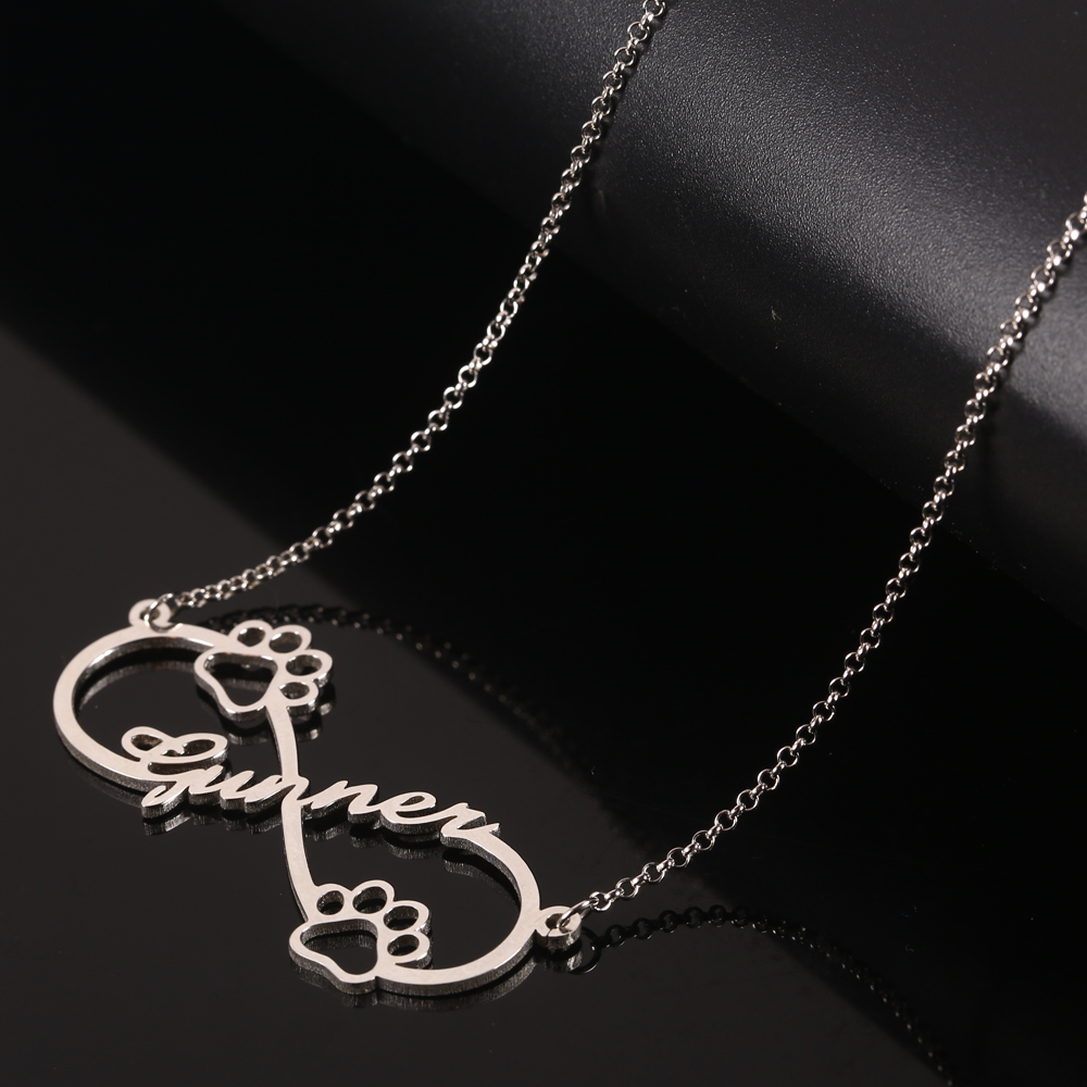 925 Silver Infinity Personalized Name Necklace Women Necklaces & Pendants Dog Footprint Custom Name Necklace Gift Dropshipping  (3)