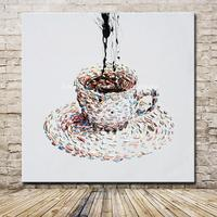 Hand Painted Cartoon Oil Painting On Canvas Modern Abstract A Cup Of Coffee Oil Paintings Wall Art Pictures For Hotel Decoration