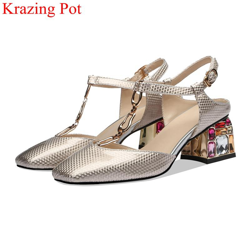 fashion big size cow leather square toe diamond high heels buckle strap women sandals elegant office