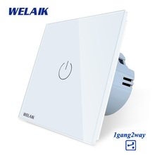WELAIK Crystal Glass Panel Switch White Wall Switch EU Touch Switch Screen Wall Light Switch 1gang2way AC110~250V A1912W/B