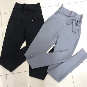Image 5 - Calças femininas nova moda sexy cintura alta cinza preto bandagem calças 2019 designer rayon magro lápis calças