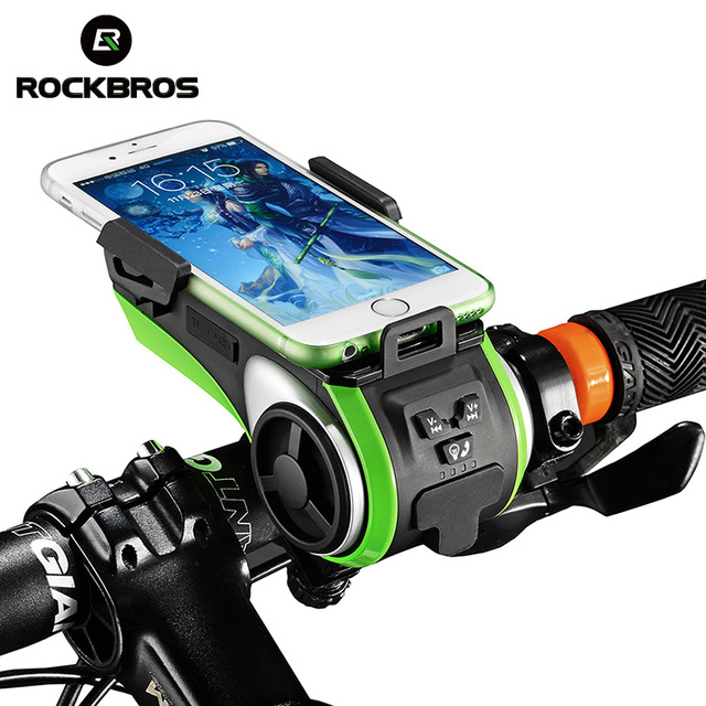 ROCKBROS 5 in 1 Bicycle Computer Phone Holder Bell Light 4400mAh Power Bank Waterproof Bike Bluetooth
