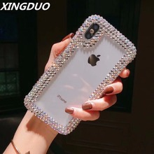 XINGDUO Transparent crystal case for iphone X 7 8 Plus XS MAX bling Rhinestone Side drill XR 6 6S