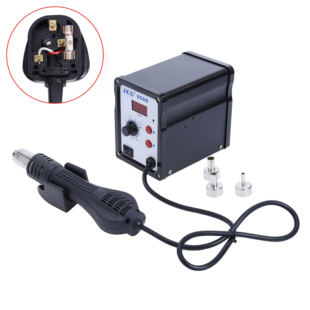 700W Hot Air Gun Desoldering Soldering Station LED Digital Solder Iron Quick Heating 858D UK/US/EU Plug with 3 Free Air nozzle dhl free shipping hot sale 220v hakko fx 888 fx888 888 solder soldering iron station with 10 free tips 900m t