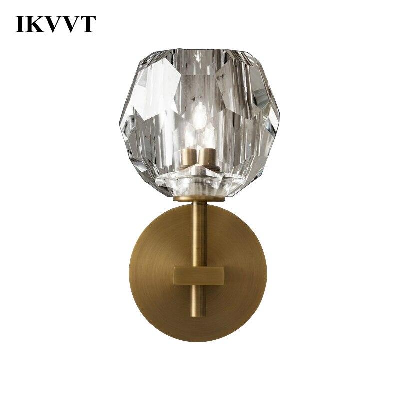 IKVVT Mur Lampe Moderne Cristal Balle Unique Ou Double Tête Mur Lumières Salle À Manger Salon Chambre Balcon Passerelle Décor À La Maison