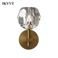 IKVVT Wall Lamp Modern Crystal Ball Single Or Double Head Wall Lights Dining Room Livingroom Bedroom Balcony Walkway Home Decor