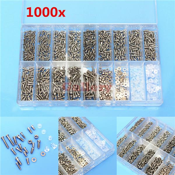 1000 Pcs Glasses Sunglass Spectacles Screws Nut Repair Kit with A Plastic Case Screwdriver Windshield Repair Kit