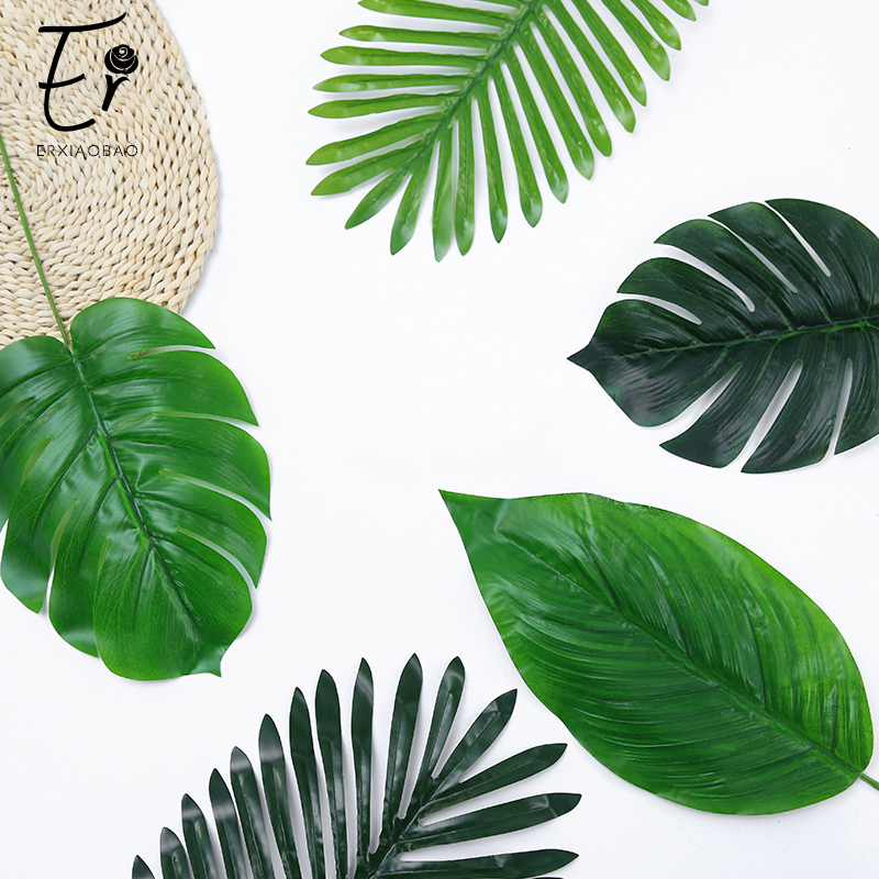 Erxiaobao Simple Style Simulation Plant Fake Monstera Leaf Living Room Creative Tropical Rainforest Green Home Decorations
