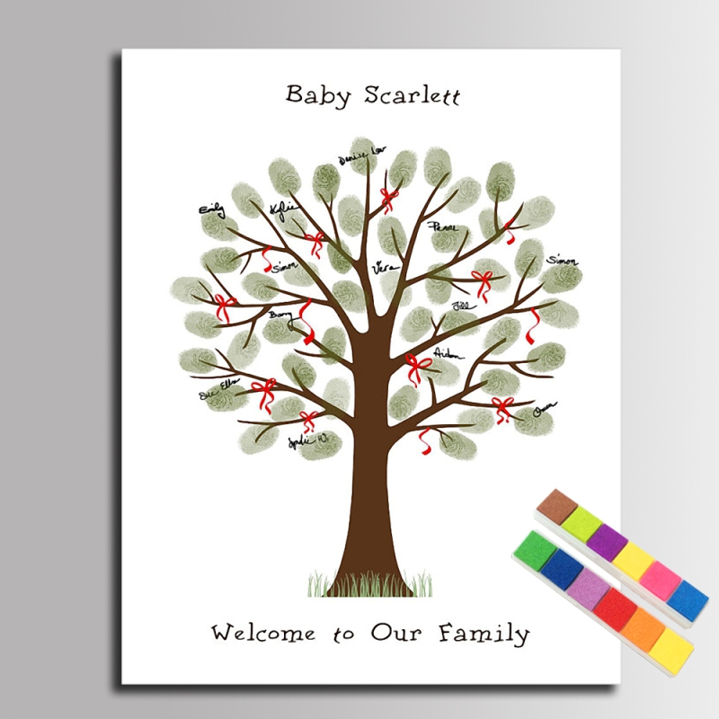 Diy Fingerprint Tree Red String Signature Canvas Painting For Baby