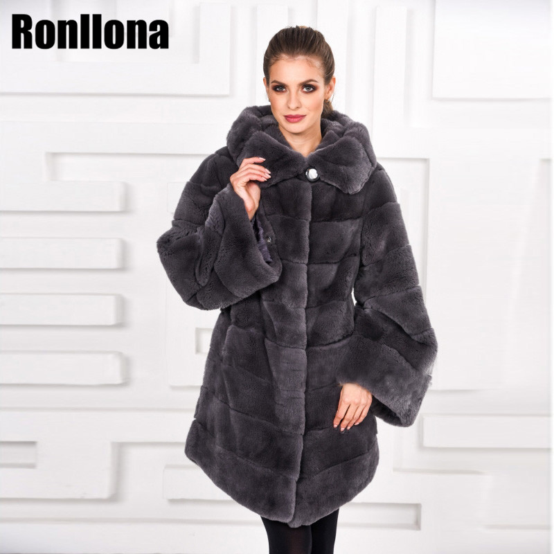2018 Réel Rex De Fourrure De Lapin Manteau Femmes Avec Capuche Chaud Épais D'hiver Naturel 100% De Fourrure De Lapin Veste Véritable De Mode Outwear RB-086