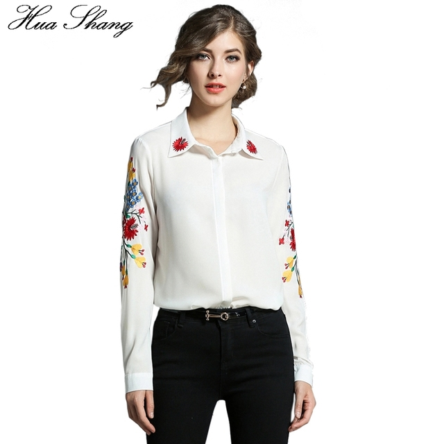 13bbcfc54c Fashion Cotton Shirt Female Long Sleeve Floral Embroidered Chiffon Blouses  White Women Shirt Ladies Office Tops Chemise Femme
