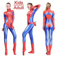 Adult Kids High Quality PS4 Game New Spider Man Cosplay Costumes Negative Suit Spider Women Spandex Girls Bodysuits Jumpsuit