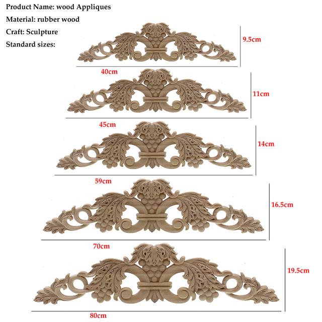 Woodcarving Furniture Vintage Home Decor Garden Decoration Maison Accessories Solid Wood Applique Carved Flower Piece Miniature 3
