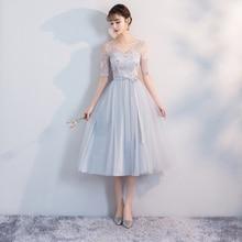 Blue Grey Color Bridesmaids Dresses Elegant V-neck Embroidery Tea-Length Sexy Plus Size Party Dress Wedding Dress Short Frocks
