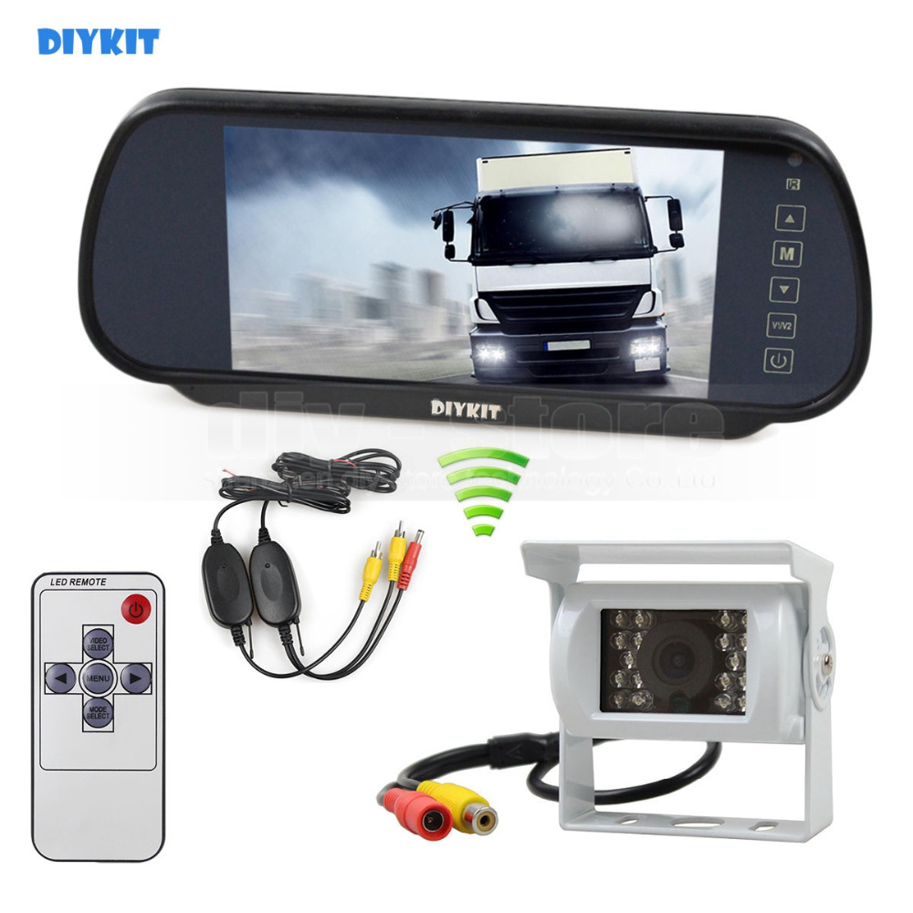 DIYKIT Wireless 12VDC 7inch HD Mirror Monitor Car Monitor Waterproof CCD Rear View Car Camera White for Truck Caravan Bus Van free shipping 12 24v 9 quad split 4 channel video view car recording monitor waterproof backup rear view camera for truck van