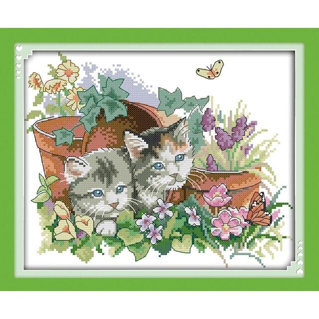Kits de point de croix chinois   Amour éternel quatre saisons chats, coton écologique estampillé, 14 11CT, décorations du nouvel an diy