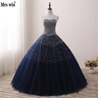 Gorgeous Sparkly Beading Wedding Gowns Hải Quân Xanh Strapless Sleevelss Elegant Cô Dâu Công Chúa Ren Vestidos Novia Kích Thước Mã Hàng CustomC