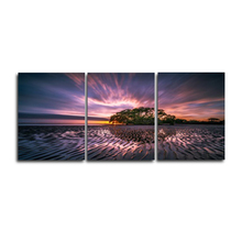 Laeacco 3 Panel Posters and Prints Wall Artwork Seaside Sunrise Home Living Room Decor Paintings Calligraphy Pictures
