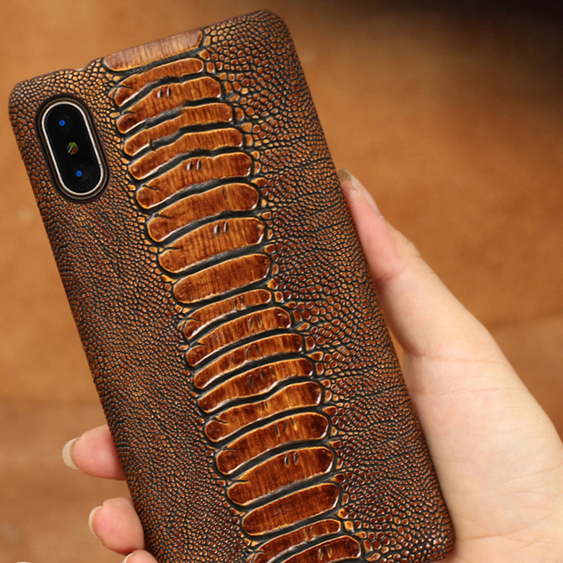 Genuine leather Phone case For iPhone X case Ostrich Foot texture back cover For 6 6S 7 8 Plus 5 5S SE cases in Half wrapped Cases from Cellphones Telecommunications