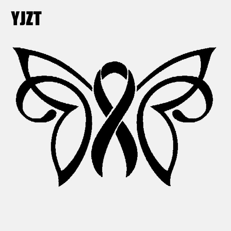 YJZT 15CM*10.2CM Decal Vinyl Car Sticker Butterfly Ribbon Charity Sticker Black/Silver C24-0086 image