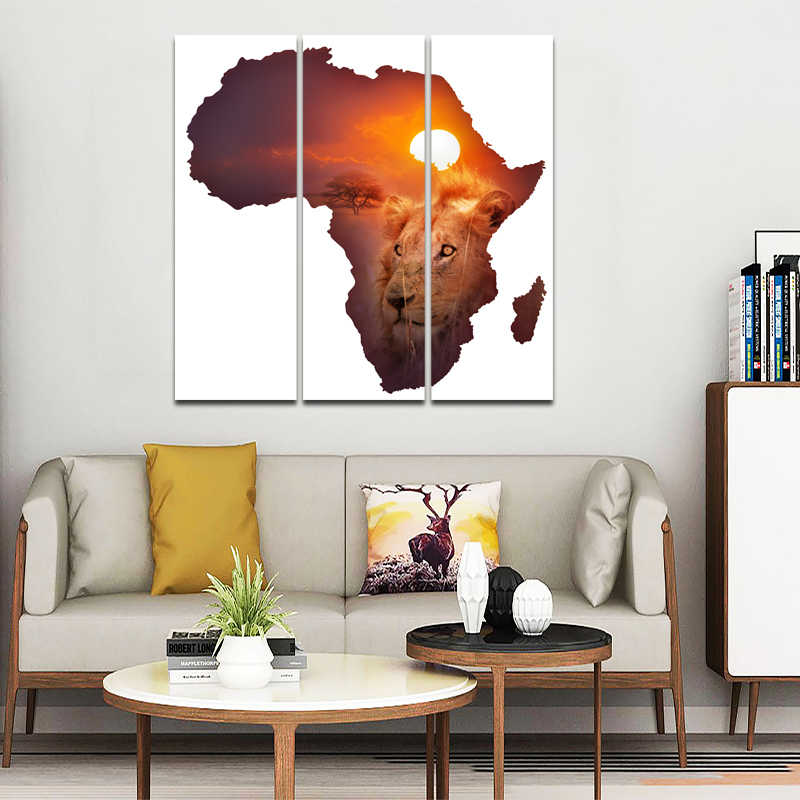 RELIABLI Triple Sunset and Tiger Landscape Painting Africa Maps Posters Print For living Room Animal Art Canvas Print Decoration
