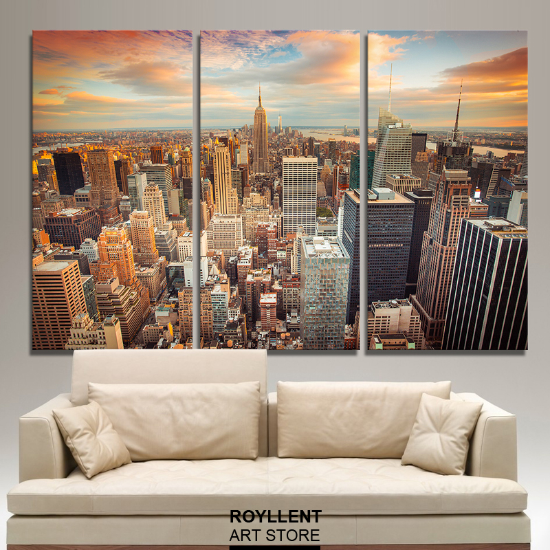 New york city picture canvas painting modern wall art for Decorative pieces for living room