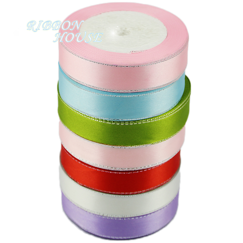 HTB1UHkpX0zvK1RkSnfoq6zMwVXaf (25yards/roll) White Silver Edge Satin Ribbon Wholesale high quality gift packaging Christmas ribbons (6/10/20/25/40mm)
