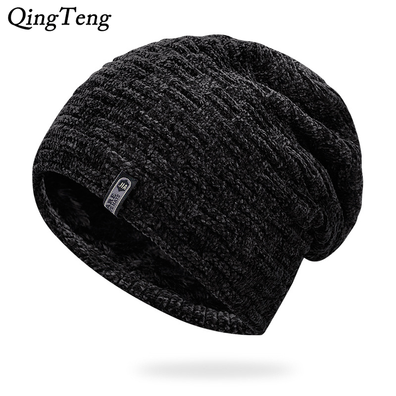 Winter Hats For Women Men Beanies Knit Cap Gorras Bonnet Within Riga Velvet Black Casual Hat Male Outdoor Ski Stocking Hats