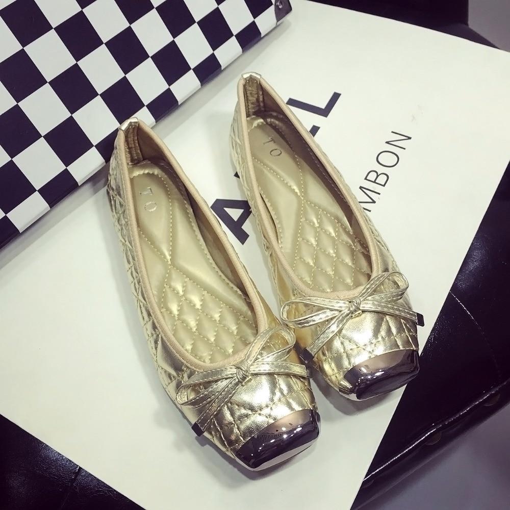 Free shipping 2017 new fashion women font b flat b font shoes joker plaid metal head