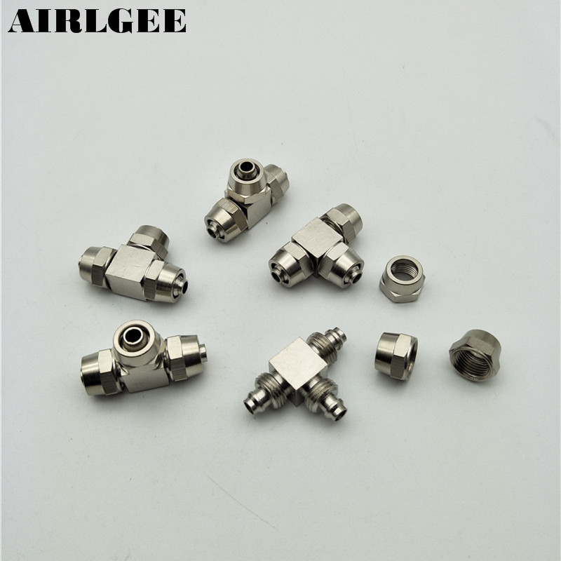 5pcs Chrome Plated Brass Tee Shape Quick Coupler 4mm 6mm 8mm 10mm 12mm Three Way Fittings Connector for Tube 1 piece pneumatic fittings quick push in connector air fittings for 4mm 6mm 8mm 10mm 12mm tube hose straight fittings