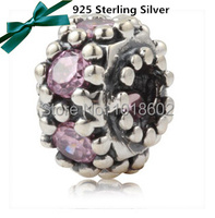 925 Sterling Silver Pendant Pink Rhinestone Charm Fashion Accessories Bead Fit Bracelet Necklace 1pc Lot VK0988