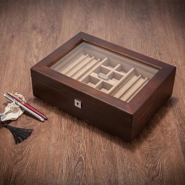 Bois massif signature stylo boîte collier bracelet boutons de manchette bijoux boîte de rangement bureau table organisateur pour la maison décorative MSSH014 - 4
