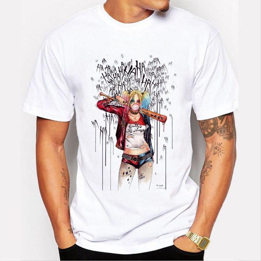 Men's Suicide Squad T Shirt Harley Quinn Joker T-Shirt Summer Style Funny HAHA Pretty Woman Print Tee Men Short Sleeve Clothing