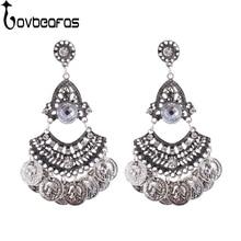 LOVBEAFAS 2018 Bohemian Earrings Fashion Jewelry Drop Earrings For Women Brincos Coin Tassel Crystal Earrings Bijoux Femme