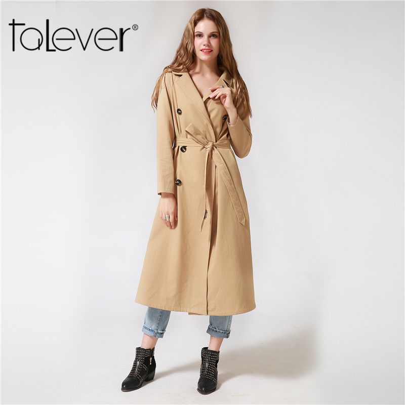 Womens Double Button Trench Womens Long Classic Windbreaker Trench Coat Autumn Winter Outwear Office Lady Fashion Coat Talever