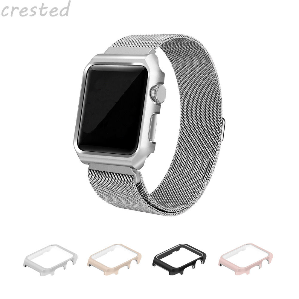 CRESTED Watch Aluminium alloy Frame case protective Case for Apple Watch 42 mm 38 mm cover shell for iwatch series 1 2 black silver u shape aluminium alloy stand docking charger station holder for apple watch iwatch