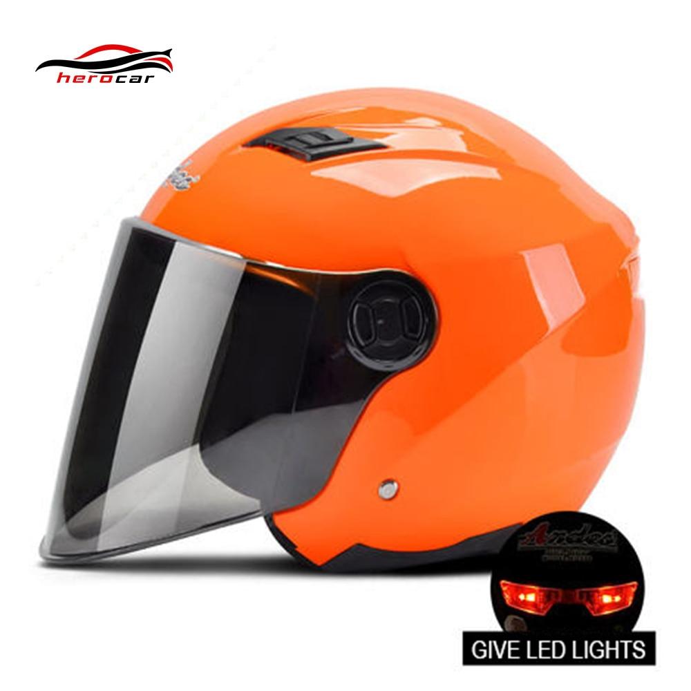 Motorcycle Helmet 3/4 Open Face Helmet Scooter Capacete Modular Casco Moto Flip Up Helmet Motorbike Casque With Lens LED Light