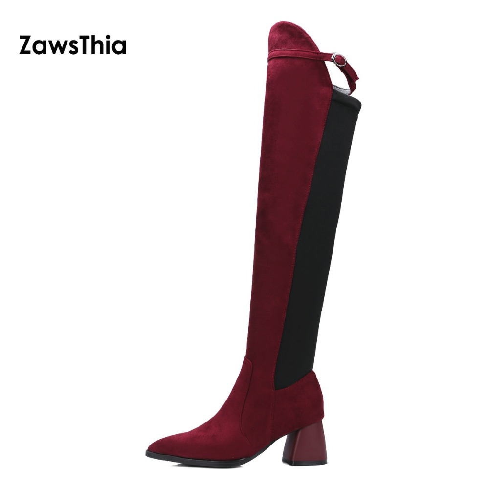 ZawsThia flock and lycra stretch fabric long boots 6cm hoof high heels shoes woman over the knee high boots with buckle size 43