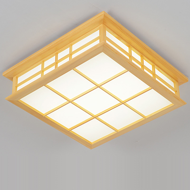 Japanese style Delicate Crafts Wooden Frame led Ceiling Light ...